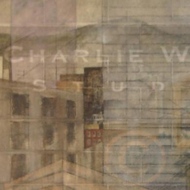 Pastel & charcoal mural on cinder block