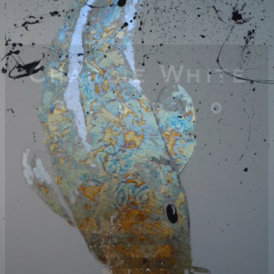 Acrylic and metal leaf on 4' x 2' canvas